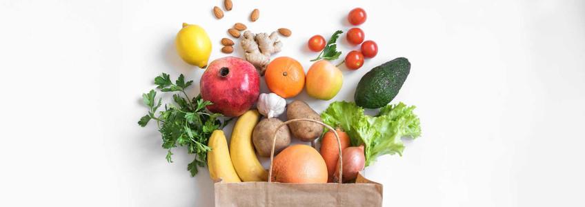 frutas, vegetais e frutos secos